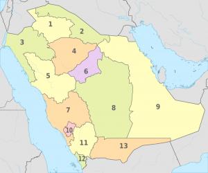 خريطة الصم مناطق المملكة العربية السعودية